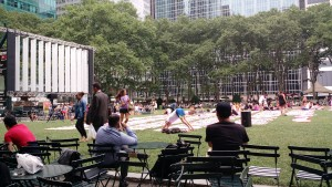 sunny day yoga at Bryant park